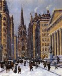wall street facing trinity church by colin campbell cooper painting