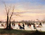 ice skating at twilight by conrad wise chapman painting