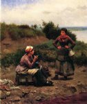 daniel ridgway knight a discussion between two young ladies paintings