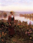 a garden above the seine rolleboise by daniel ridgway knight painting