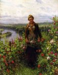 a maid in her garden by daniel ridgway knight painting
