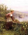 brittany girl overlooking stream by daniel ridgway knight painting