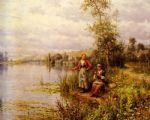 daniel ridgway knight country women fishing on a summer afternoon paintings