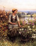 daydreaming by daniel ridgway knight painting