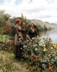 daniel ridgway knight peasant girls in flower garden painting 35862