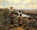 daniel ridgway knight picking flowers painting 35863