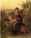 daniel ridgway knight seated girl with flowers painting 35865
