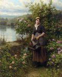 watering the garden by daniel ridgway knight painting