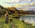 woman by the water by daniel ridgway knight painting