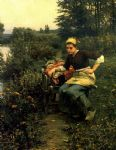 daniel ridgway knight woman in landscape painting