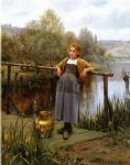 young girl by a stream by daniel ridgway knight painting
