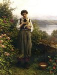 daniel ridgway knight young girl holding a puppy painting 35888