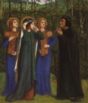 dante gabriel rossetti the meeting of dante and beatrice in paradise painting