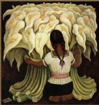 girl with lilies by diego rivera painting