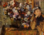 edgar degas a woman seated beside a vase of flowers painting 35155