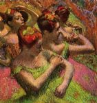 edgar degas ballerinas adjusting their dresses painting
