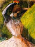 edgar degas ballet corps member fixing her hair painting 35193