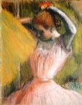 edgar degas dancer arranging her hair painting