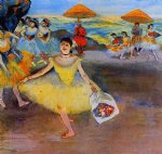 dancer with a bouquet bowing by edgar degas painting