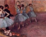 dancers in light blue by edgar degas painting