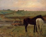 edgar degas horses in a meadow painting