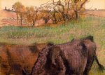 landscape cows in the foreground by edgar degas painting