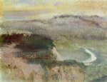 edgar degas landscape with hills painting