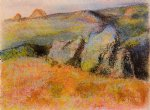 edgar degas landscape with rocks painting