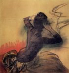seated woman adjusting her hair by edgar degas painting
