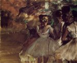 edgar degas three dancers behind the scenes painting-35481