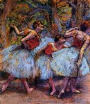 edgar degas three dancers blue skirts red blouses painting