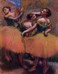 edgar degas three dancers green blouses painting