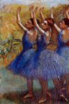 edgar degas three dancers in purple skirts painting-35485