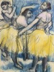 three dancers in yellow skirts by edgar degas painting