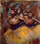 edgar degas three dancers yellow skirts blue blouses painting