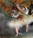 two dancers entering the stage by edgar degas painting