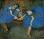 two dancers in blue by edgar degas painting