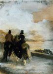two riders by a lake by edgar degas painting