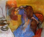 woman brushing her hair by edgar degas painting