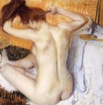 woman combing her hair by edgar degas painting