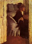 woman putting on her gloves by edgar degas painting