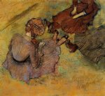 woman seated on the grass by edgar degas painting