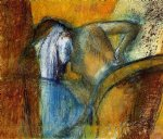 woman seen from behind drying hair by edgar degas painting
