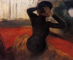 edgar degas woman trying on a hat paintings-35570