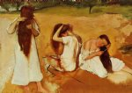 women combing their hair by edgar degas painting