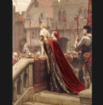 a little prince likely in time to bless a royal throne by edmund blair leighton painting