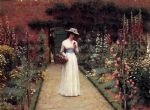 lady in a garden by edmund blair leighton painting