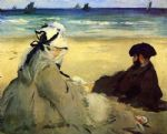 beach oil paintings - on the beach by edouard manet