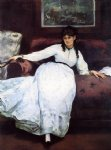 portrait paintings - repose portrait of berthe morisot by edouard manet