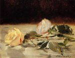 edouard manet two roses on a tablecloth painting 35116